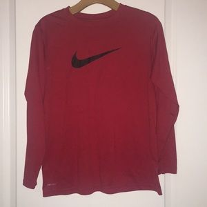 Nike Red Long Sleeve Dri Fit Tee